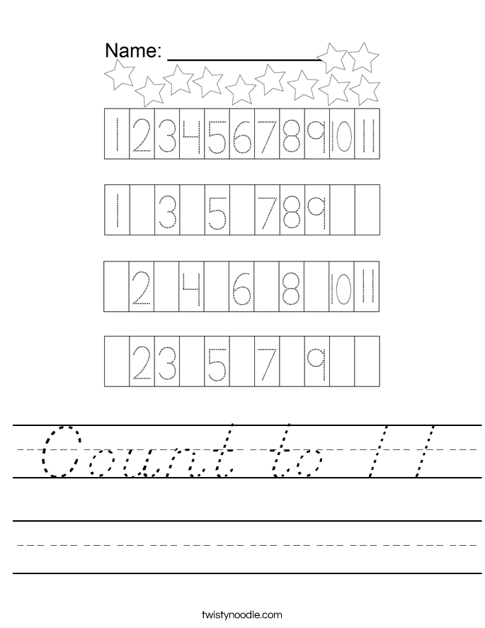 Count to 11 Worksheet