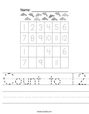 Count to 12 Handwriting Sheet