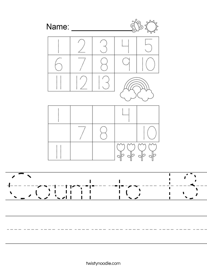 Count to 13 Worksheet