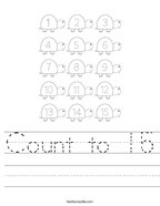 Count to 15 Handwriting Sheet