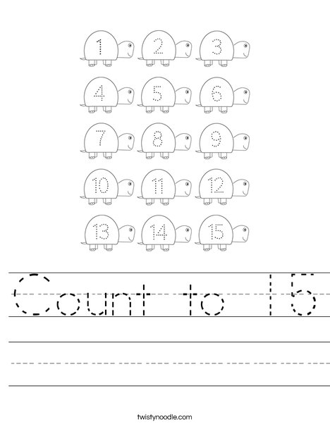 Count to 15 Worksheet