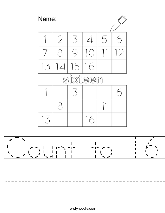 Count to 16 Worksheet