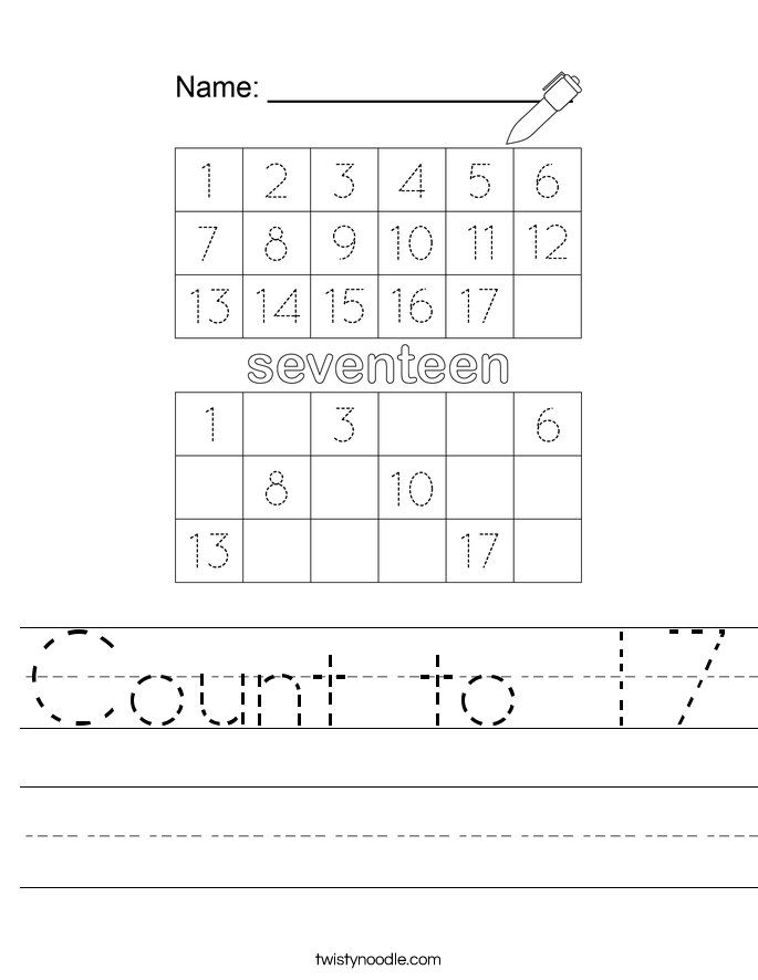 Count to 17 Worksheet