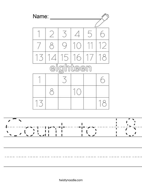 Count to 18 Worksheet