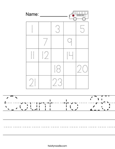 Count to 25 Worksheet