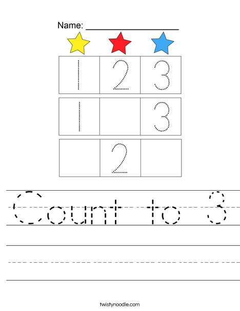 Count to 3 Worksheet