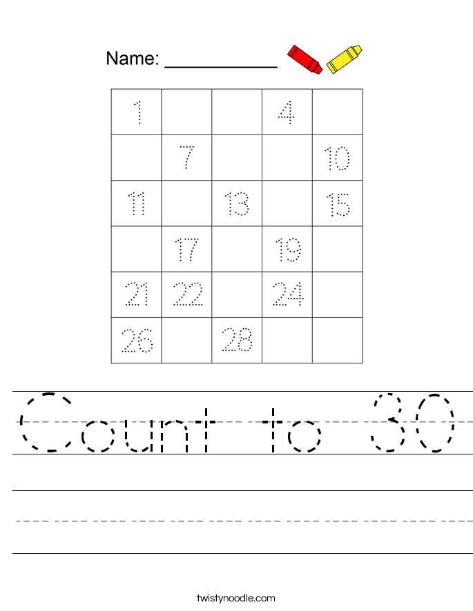 Count to 30 Worksheet