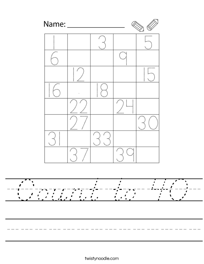 Count to 40 Worksheet