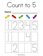 Count to 5 Coloring Page