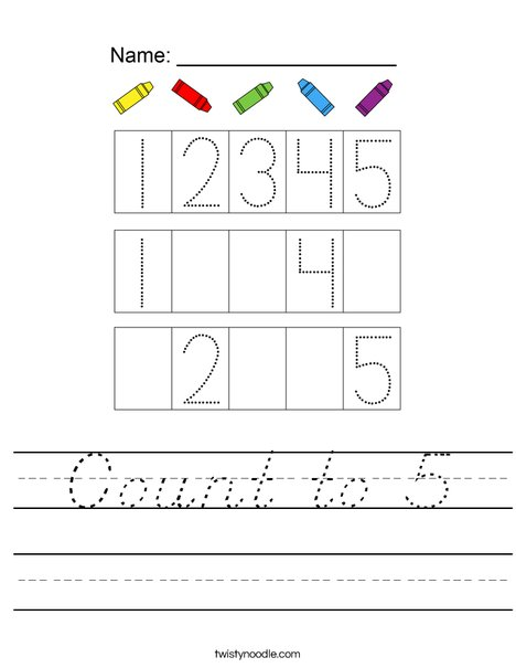 Count to 5 Worksheet