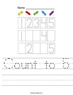 Count to 5 Handwriting Sheet