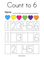 Count to 6 Coloring Page