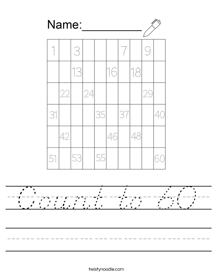 Count to 60 Worksheet