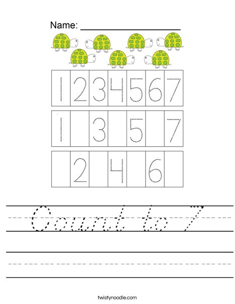 Count to 7 Worksheet