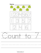 Count to 7 Handwriting Sheet