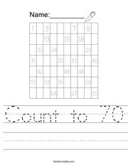 Count to 70 Handwriting Sheet