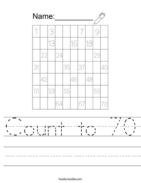 Count to 70 Worksheet