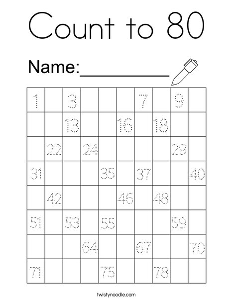 Count to 80 Coloring Page