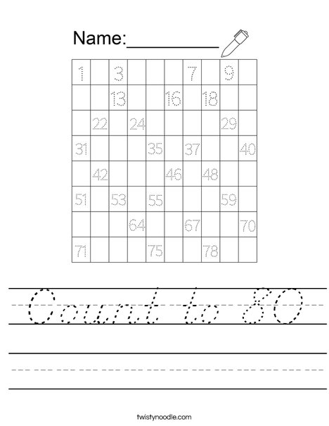 Count to 80 Worksheet