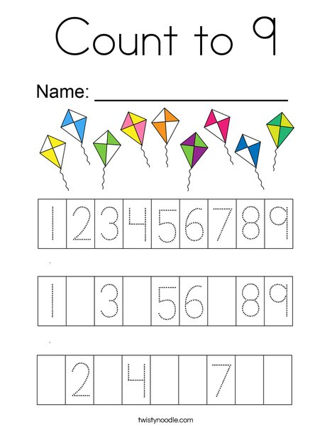 Count to 9 Coloring Page