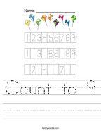 Count to 9 Handwriting Sheet