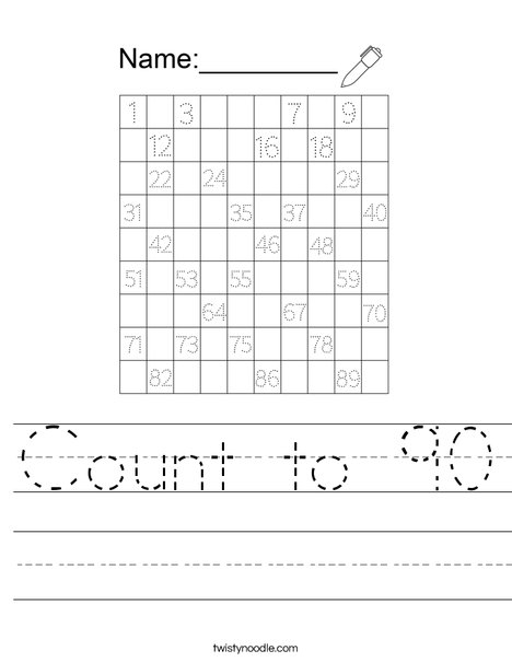 Count to 90 Worksheet