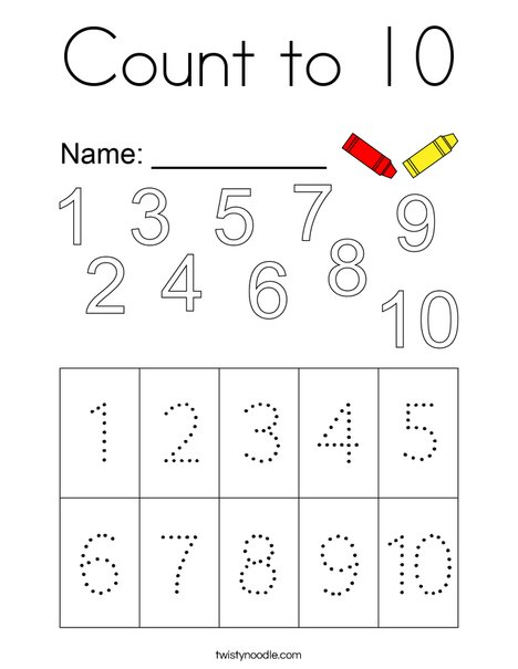 Count to Ten Coloring Page