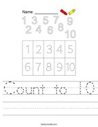 Count to 10 Handwriting Sheet
