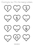 Counting by two. Fill in the missing numbers. Coloring Page