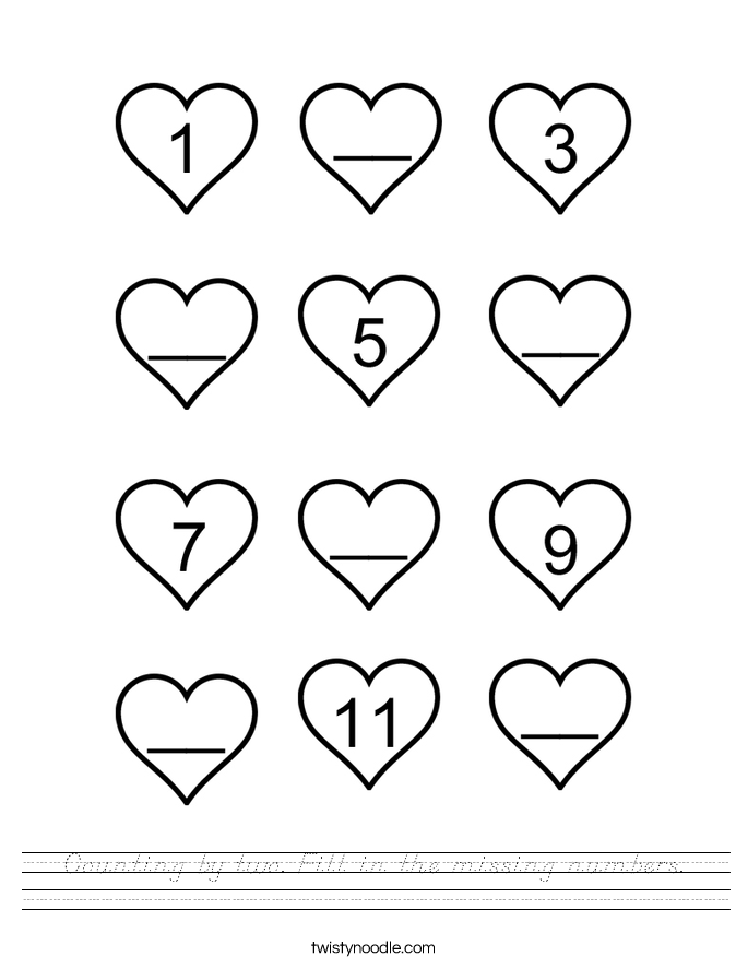 Counting by two Fill in the missing numbers Worksheet - D ...