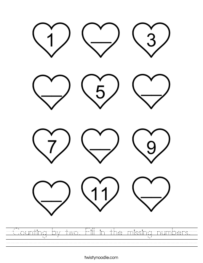 Printable Worksheets fill in missing numbers worksheets : Counting by two Fill in the missing numbers Worksheet - Twisty Noodle