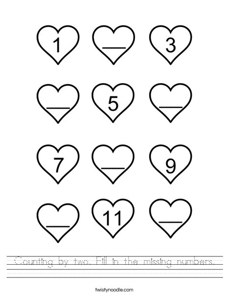 Counting by 2! Fill in the missing numbers. Worksheet