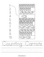 Counting Carrots Handwriting Sheet