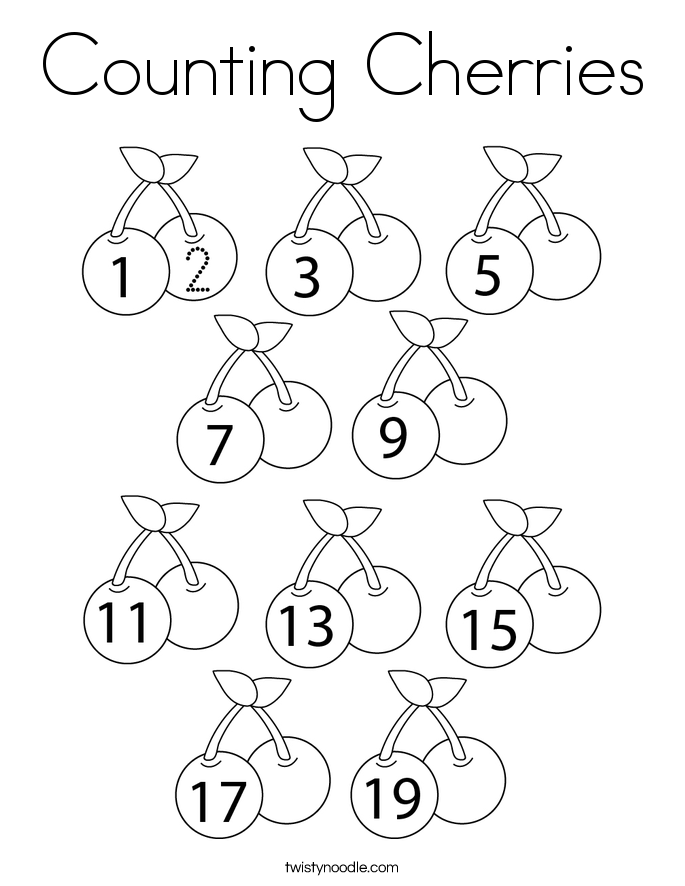 Counting Cherries Coloring Page