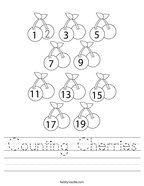 Counting Cherries Handwriting Sheet