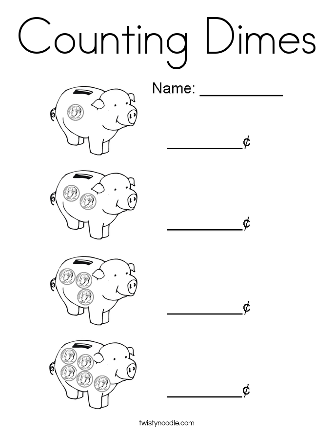 Counting Dimes Coloring Page