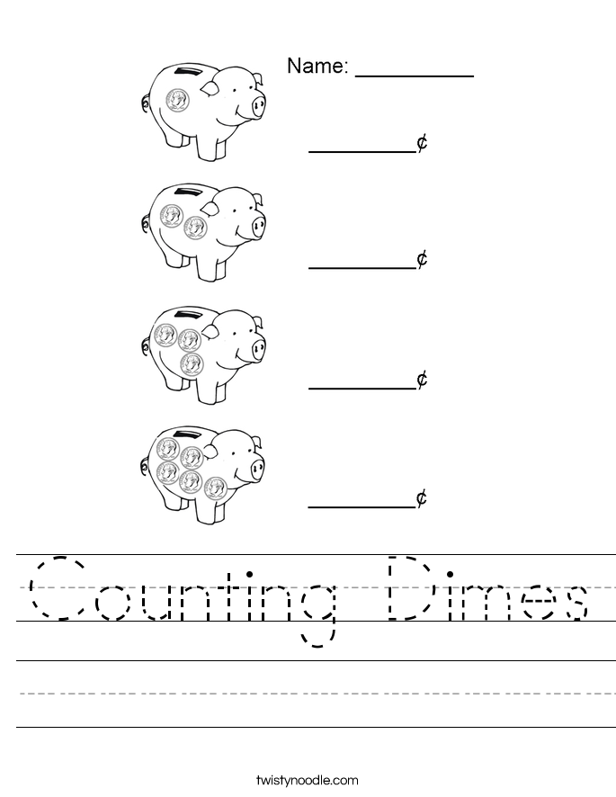 Counting Dimes Worksheet