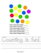 Counting is fun Handwriting Sheet