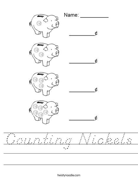 Counting Nickels Worksheet