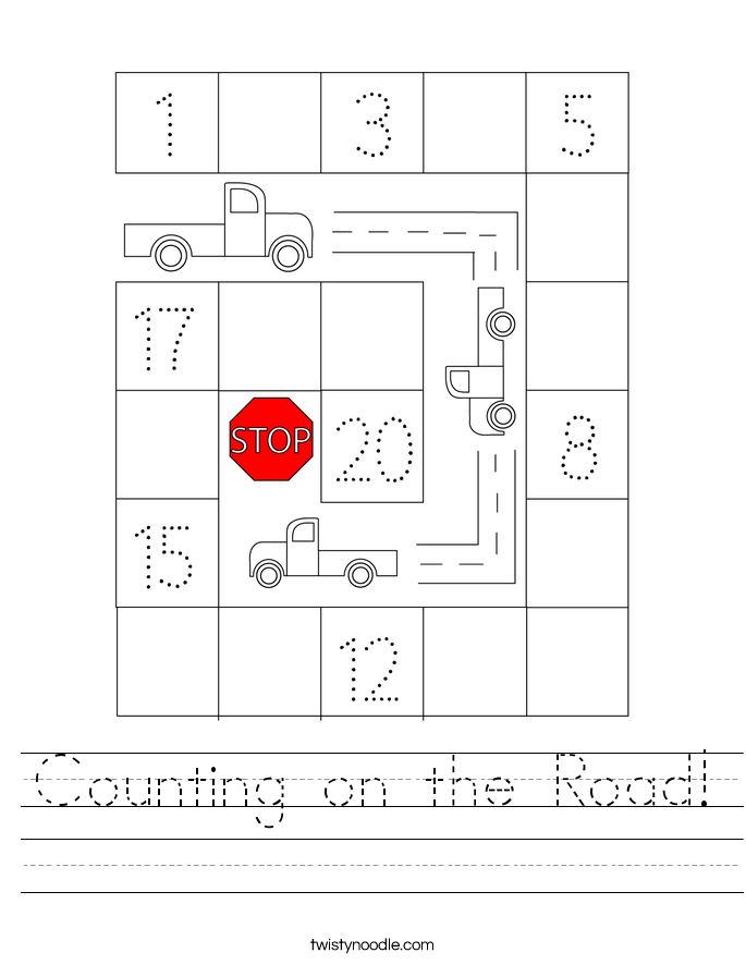 Counting on the Road! Worksheet