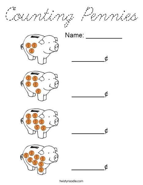 Counting Pennies Coloring Page