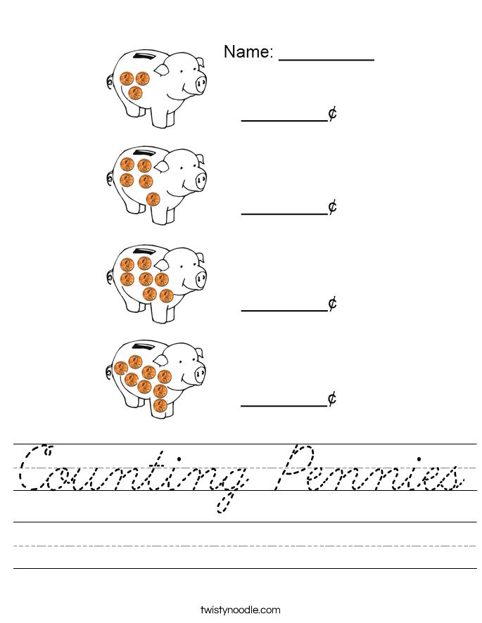 Counting Pennies Worksheet