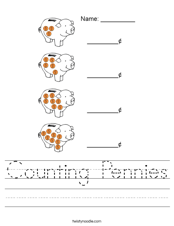 Counting Pennies Worksheet