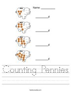 Counting Pennies Handwriting Sheet