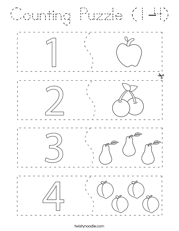 Counting Puzzle (1-4) Coloring Page