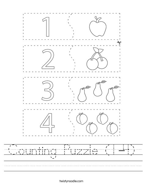 Counting Puzzle (1-4) Worksheet