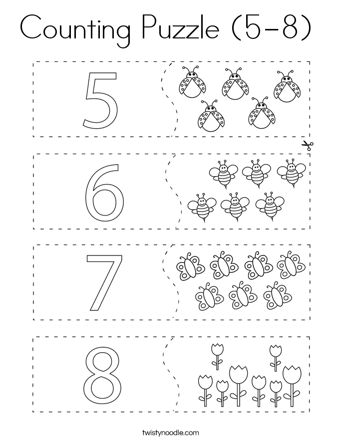 Counting Puzzle (5-8)  Coloring Page
