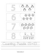 Counting Puzzle (5-8)  Handwriting Sheet