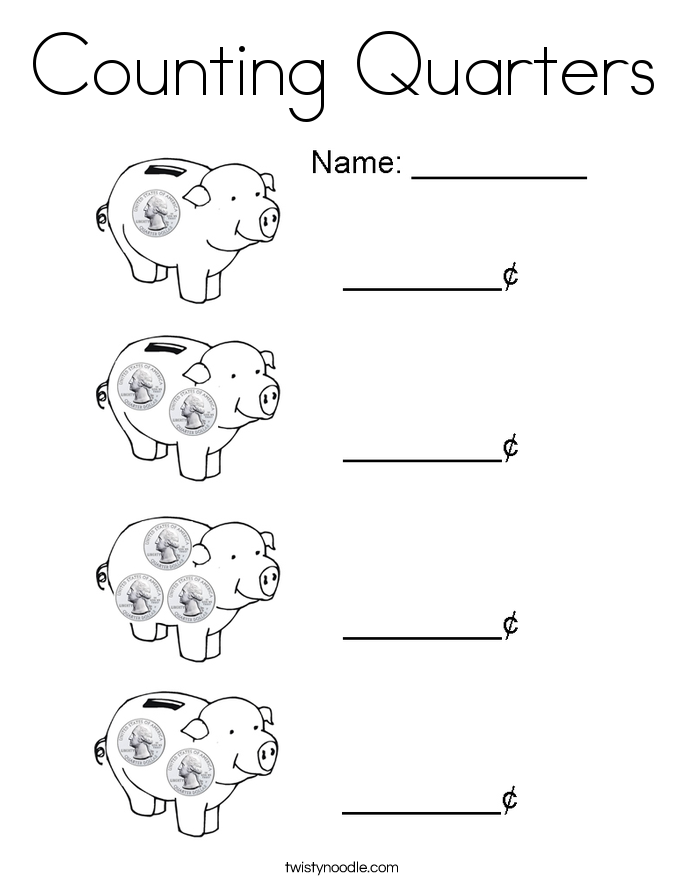 Counting Quarters Coloring Page