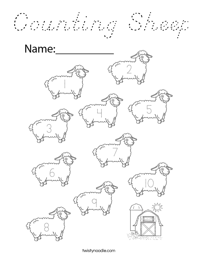 Counting Sheep Coloring Page